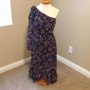 Express one shoulder navy with purple flower dress